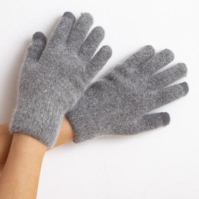 """Minaku """"Solid"""" women's double-layer gloves, size 6.5, color gray"""