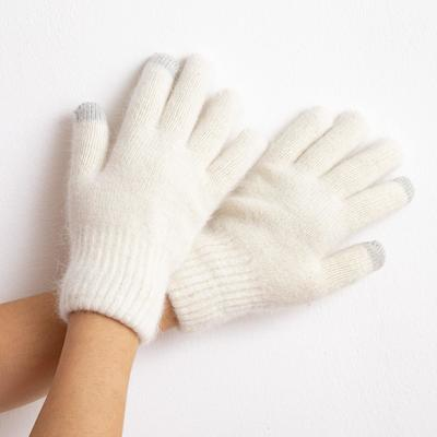 """Women's two-layer gloves MINAKU """"Solid"""", size 6.5, color milk"""