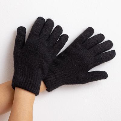 """Women's two-layer gloves MINAKU """"Plain"""", size 6.5, color black"""