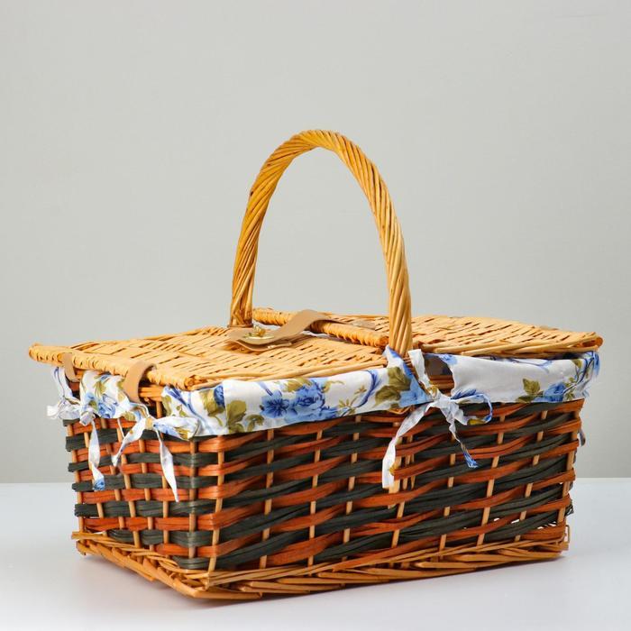 Корзина плетеная, 43х32х21/37, лоза, ткань - фото 9117688