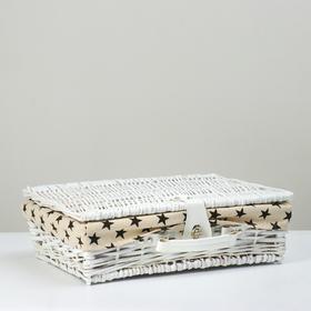 Короб-чемоданчик с ручкой и замком (лоза+ткань), 41х30х12