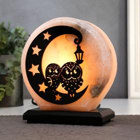 """Salt lamp with dimmer """"Owls on the moon"""" 1x15w E14, 2-3 kg, 18x16x8cm"""