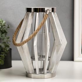 "Подсвечник дерево, металл, стекло на 1 свечу ""Лофт. Треугольники"" белый 21х18,5х18,5 см"