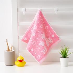 """Полотенце махровое Крошка Я """"Жирафы"""" 26*26 см, цв.розовый, 100% хлопок, 400 гр/м2"""