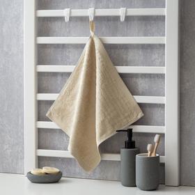"Полотенце махровое Крошка Я ""Simple"" 34*34 см, цв.бежевый, 100% бамбук, 420 гр/м2"
