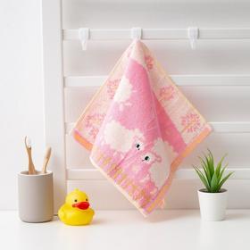 "Полотенце махровое Крошка Я ""Овечки"" 25*50 см, цв.розовый, 100% хлопок, 400 гр/м2"