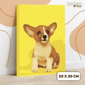 Картина по номерам на холсте с подрамником «Щенок корги», 30х20 см