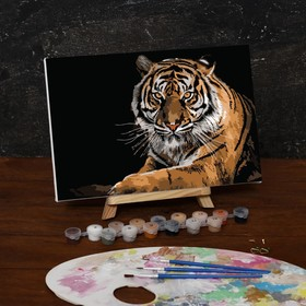 """Painting by numbers on canvas """"Tiger"""", 30*20 cm"""
