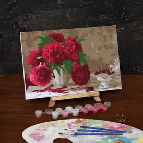 """Картина по номерам на холсте """"Розовые пионы"""", 30*20 см"""