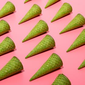 Waffle cones with a straight edge green (H-110, D-48), 225 pcs