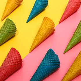 Assorted waffle cones with natural edge (N-185, D-75), 300 pcs
