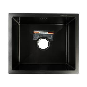 Мойка кухонная GERHANS K35043B, врезная, 500х430х220 мм, с сифоном, цвет графит