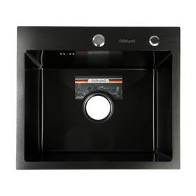 Мойка кухонная GERHANS K35044B, врезная, 500х440х220 мм, с сифоном, цвет графит