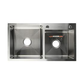 Мойка кухонная GERHANS K37843-S, врезная, двойная, 780х430х220 мм, с сифоном, S = 3.0 и 0.8 мм, глянцевая