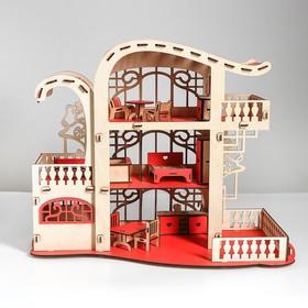 Сборная игрушка Домик «Усадьба Милана» красный с мебелью