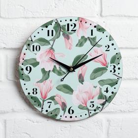 """Часы дерево настенные """"Цветы"""", d=29 см"""