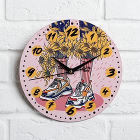 """Часы дерево настенные """"Подсолнухи"""", d=29 см"""