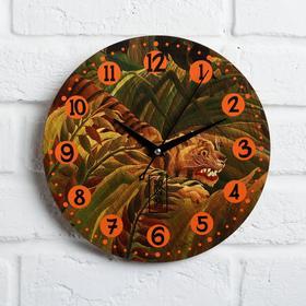 """Часы дерево настенные """"Тигр"""", d=29 см"""