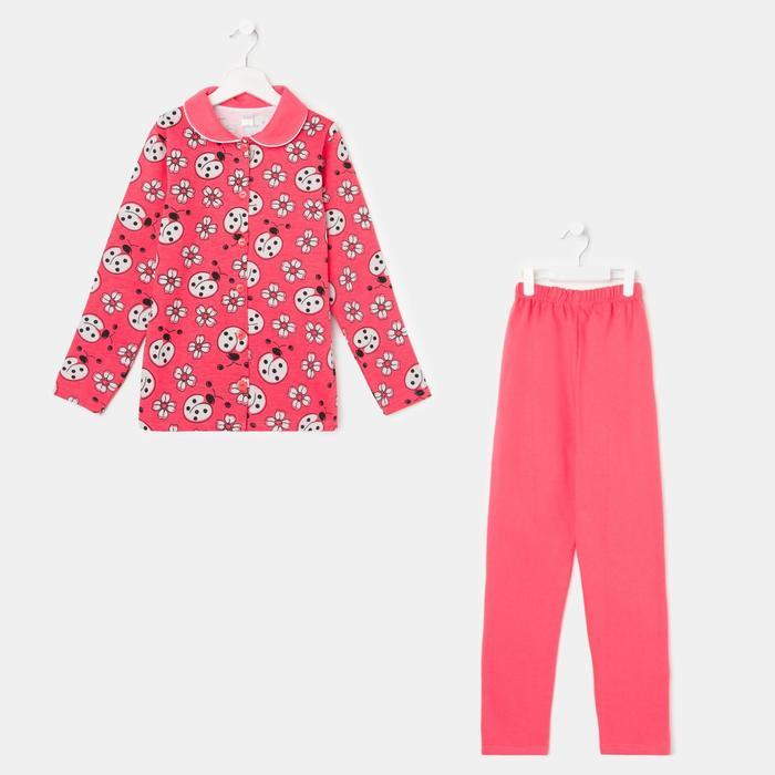 Пижама детская, цвет коралловый, рост 134 см - фото 76741618