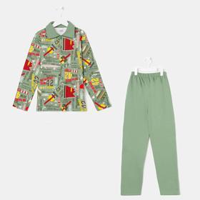 Пижама детская, цвет хаки, рост 122 см