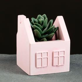 Подставка для карандашей домик, розовое, 7 х 7 х 8,5 см