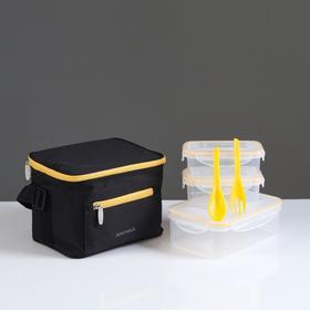 """Ланч-сумка """"Арктика"""", 2,5 л, арт. 020-2500, чёрная, с 3-мя контейнерами"""