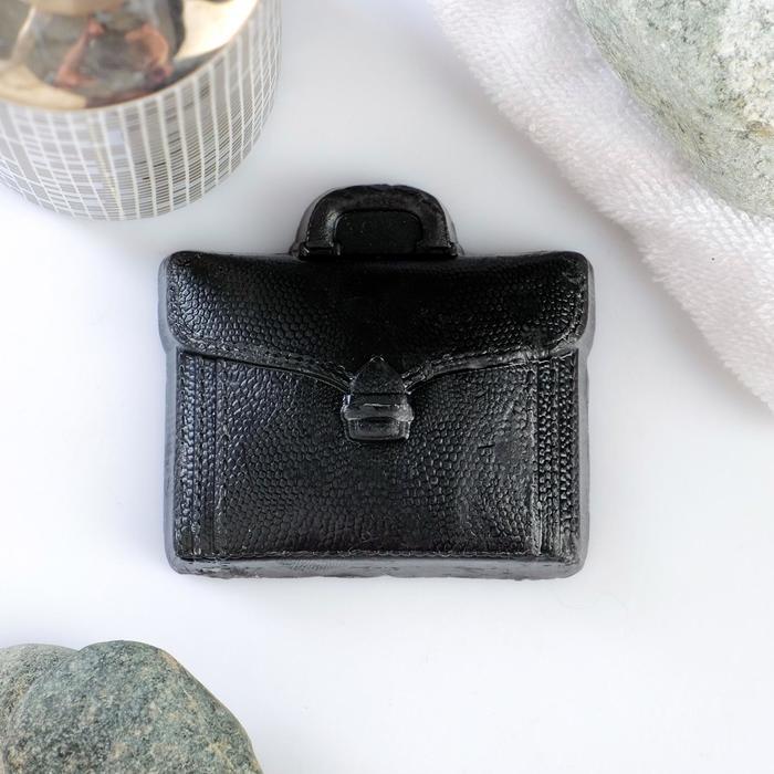 """Мыло фигурное """"Кожаный портфель"""" чёрный, 100гр - фото 7650268"""