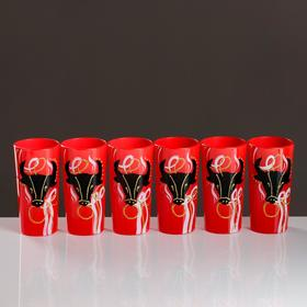 Set of glasses Goby #1, black on red, 6 items