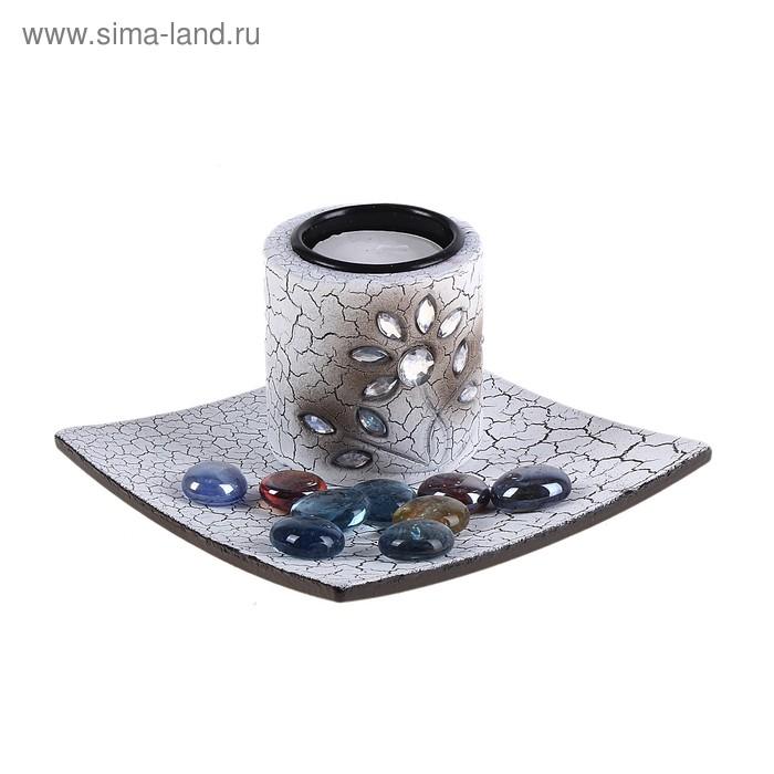 """Набор """"Переплетение"""": подсвечник со свечой, подставка, декор"""