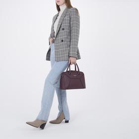 Сумка женская, отдел на молнии, наружный карман, длинный ремень, цвет бордовый - фото 51908