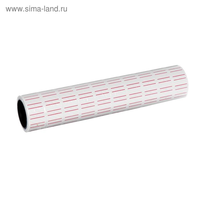 Ценники самоклеящиеся для Этикет-пистолета 12х21 мм, в 1 рулончике-200 штук (набор из 10 рулончиков) белые с красными полосками