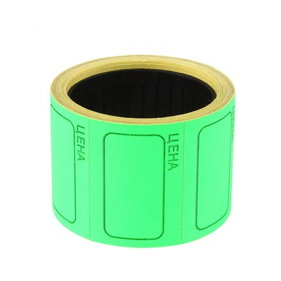 Набор из 6 роликов, в 1 ролике 120 шт, ценники самоклеящиеся 25*35мм зеленые