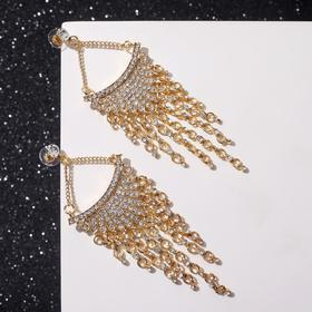"""Hanging earrings with rhinestones """"Chandeliers"""" fusion, white in gold"""