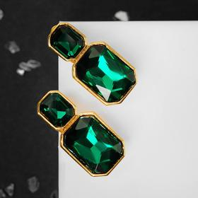 """Clips """"Party"""" rhombuses, color emerald in gold"""