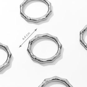 Кольцо-карабин «Бамбук», d = 32/44 мм, толщина - 4 мм, 5 шт, цвет серебряный