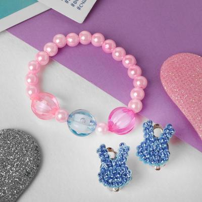 "A set of children's ""Vibracula"" 2 pre-TA: clip-on earrings, bracelet, bunnies, MIX color"