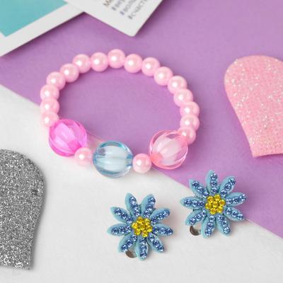 "A set of children's ""Vibracula"" 2 pre-TA: clip-on earrings, bracelet, flowers, MIX color"