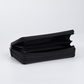 Кошелёк женский, 4 отдела на молнии, с ручкой, цвет чёрный - фото 57645