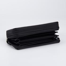 Кошелёк женский, 4 отдела на молнии, с ручкой, цвет чёрный - фото 57646