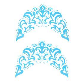 Термонаклейка «Морозный узор», синяя с серебром, набор 6 шт.