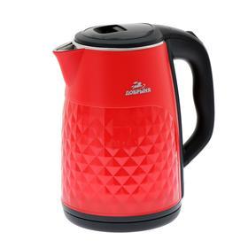 "Чайник электрический ""Добрыня"" DO-1237R, пластик, колба металл, 2.8 л, 2200 Вт, красный"
