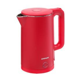 "Чайник электрический ""Добрыня"" DO-1245R, пластик, колба металл, 1.8 л, 2000 Вт, красный"