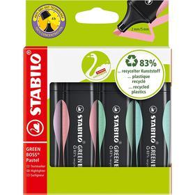 Набор маркеров-текстовыделителей 4 цвета STABILO Green Boss пастельные цвета, 2-5 мм, в картонном футляре