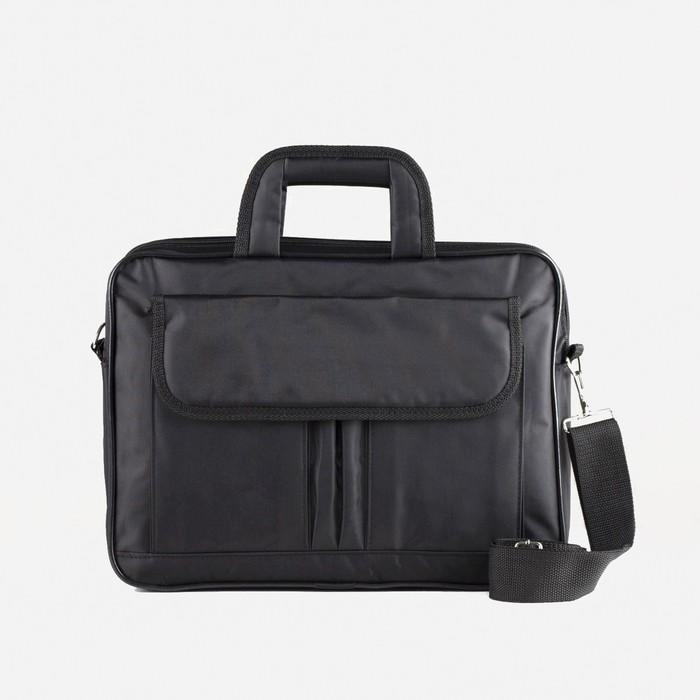 Сумка деловая, 2 отдела на молнии, наружный карман, длинный ремень, цвет чёрный - фото 769596