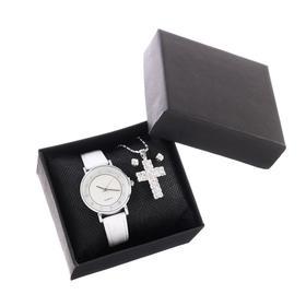 """Подарочный набор 2 в 1 """"Эдди"""": наручные часы, d=3 см, кулон, серьги"""