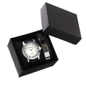 """Подарочный набор 2 в 1 """"Bolingdun"""": наручные часы, d=4.6 см, браслет"""