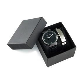 """Подарочный набор 2 в 1 """"Bolingdun"""": наручные часы, d=4 см, браслет"""