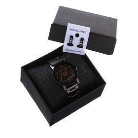 """Подарочный набор 2 в 1 """"Medissa"""": наручные часы, d=3.2 см, серьги"""