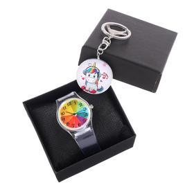 """Подарочный набор 2 в 1 """"Единорожек"""": наручные часы d=3.5 см, брелок"""