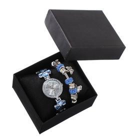 """Подарочный набор 2 в 1 """"Агетти"""": наручные часы d=2.7 см, браслет"""